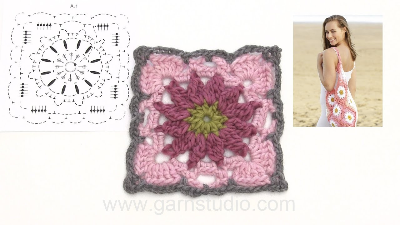 How to crochet the squares for the bag in DROPS 175-17
