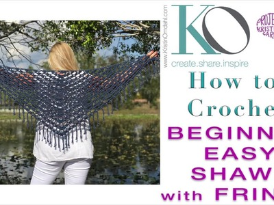 How to Crochet Top Down Triangle Celeste Shawl with Boho Fringe SLOWER for Beginner