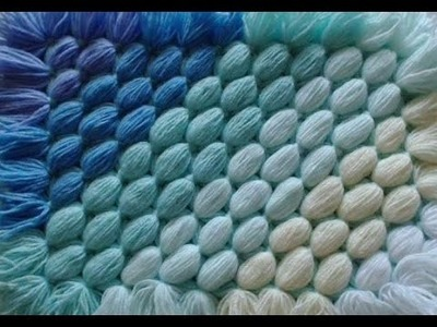 How to make a pom pom blanket  - Diagonal blanket - from your scrap balls of wool
