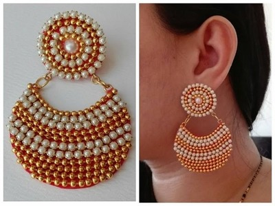 How To Make Chandbali Earrings||Made out of paper. Tutorial. Design 3