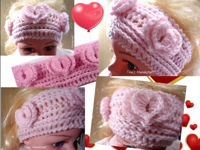 How to make crochet headband with double hearts