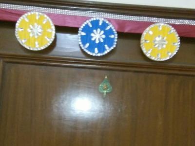 How to make door hanging.toran.banderwar from cds & paper sticks.
