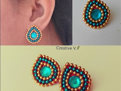 How to make Paper Stud Earrings | Earrings made out of paper | DIY