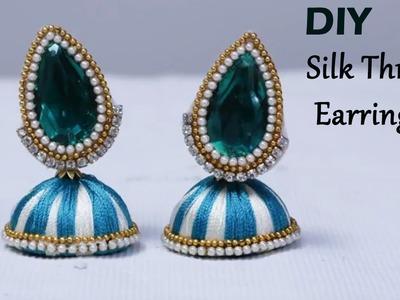 How to make silk thread earrings at home | earrings making | silk thread jewellery