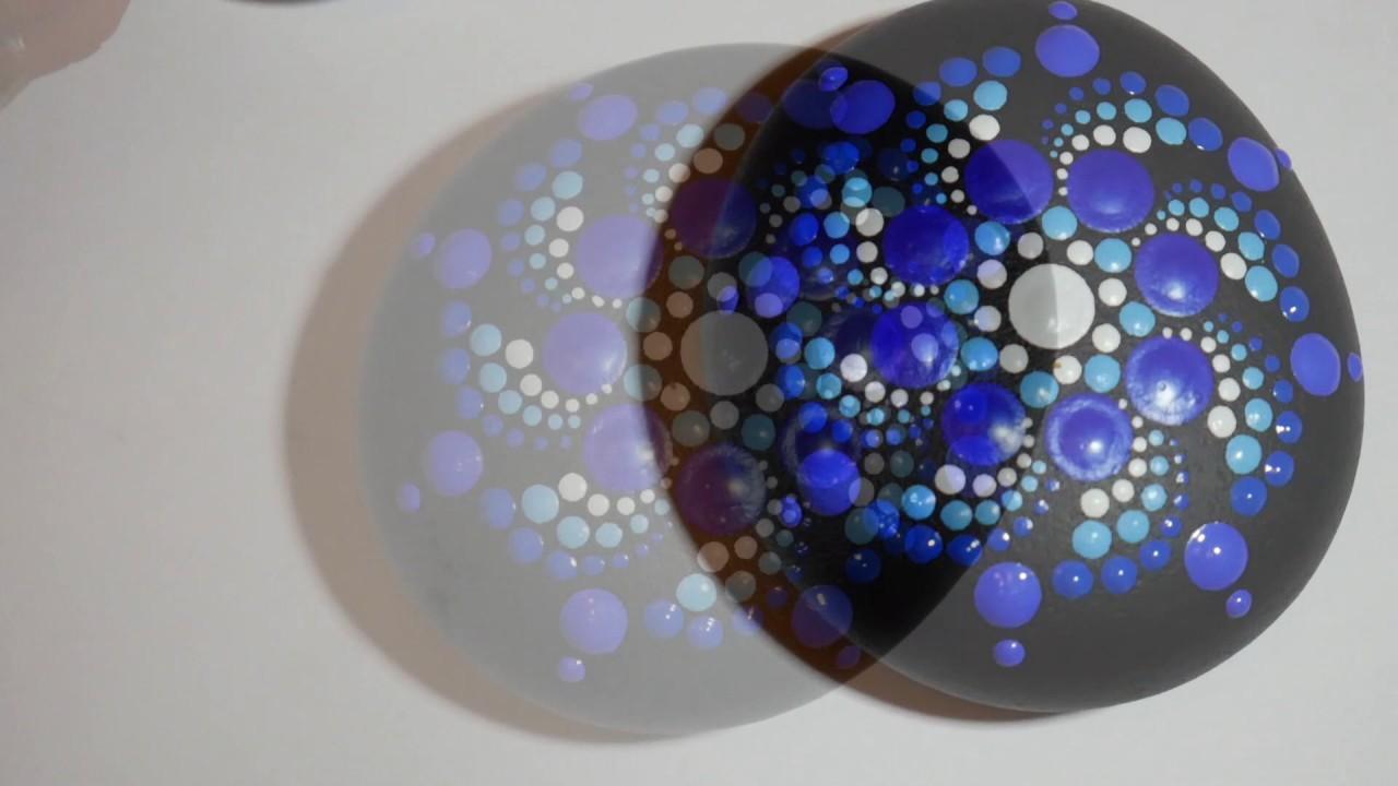 How to paint rock mandalas #11- Blue Bonnet design