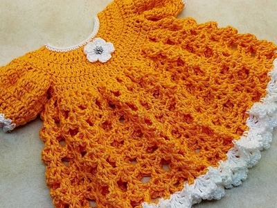 Learn How To #Crochet My Darlin' Clementine Baby Dress Size 6-12M ONLY TUTORIAL#383
