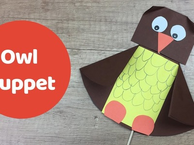 Owl puppet with rotating head, easy paper DIY for children