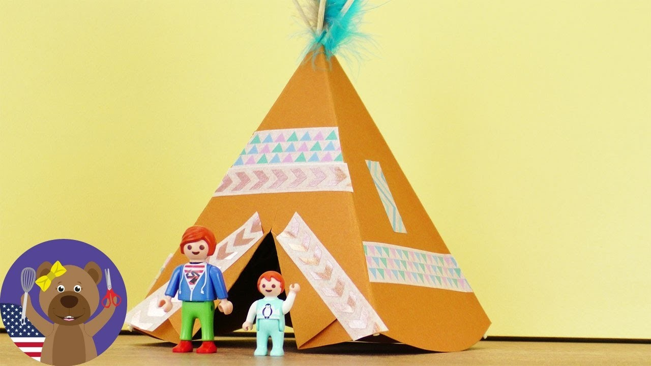 Playmobil Family Gets A Teepee! Indian Tent DIY craft