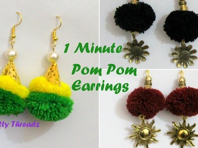 Pom Pom | How to make Colourful & Easy Pom Pom Earrings in less than 1 Minute | DIY | Knotty Threadz