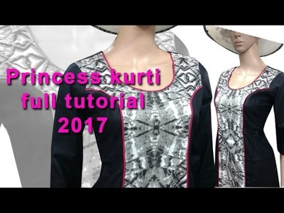 Princess cut kurti cutting and stitching DIY tutorial explained 2017 part2, Princess cut kameez