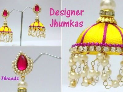 Silk Thread Jewelry | How to make Designer Silk Thread Jhumkas Using Pearl Link Chain at Home