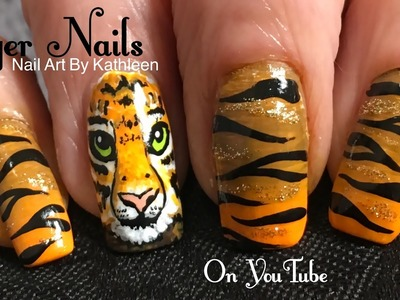 Tiger Nail Art Tutorial - DIY Freehand Tiger Face & Stripes