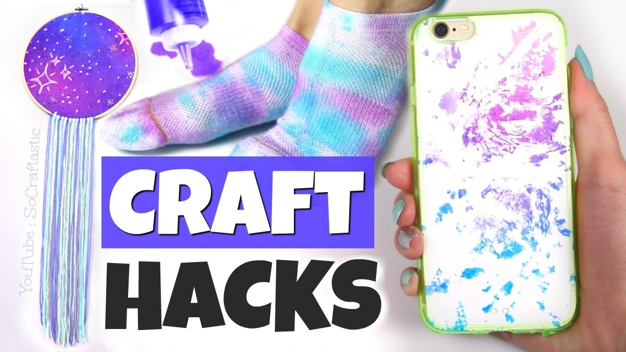 10 CRAFTING LIFE HACKS with Tie Dye. DIYs and Tie-Dye Basics - SoCraftastic