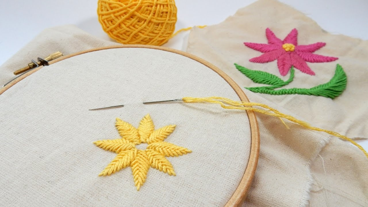 Beginner embroidery raised fishbone stitch my crafts