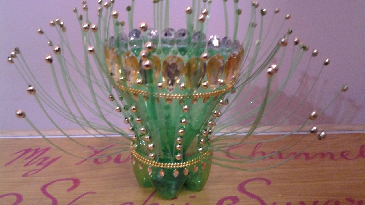 Best out of waste plastic bottles stylish centre piece my for Best out of waste plastic bottles