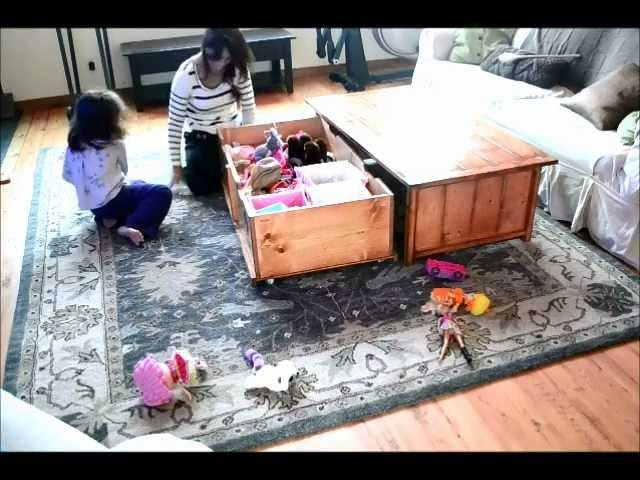 Diy coffee table with hidden toy box trundle my crafts for Diy hidden table