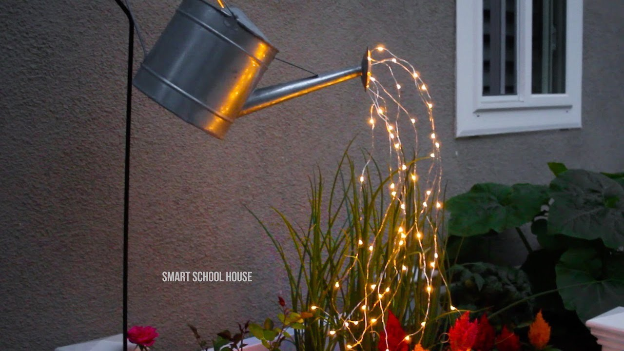 Glowing Watering Can Made with Fairy Lights, My Crafts and