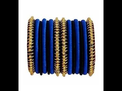 GOLD RUPAL SPRING BANGLE SET || silk thread bangles