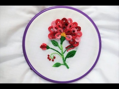 Hand Embroidery - Flower with Cast-on Knotted Stitch