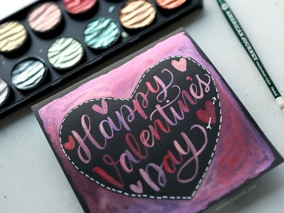 Hand Lettering in a Heart Shape with Finetec Pearl Water Colors