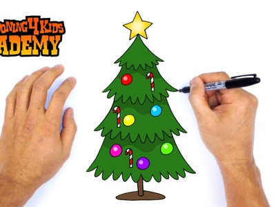 How to Draw a Christmas Tree- Art for Beginners