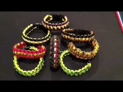 How to make a three color paracord survival bracelet American Flag style