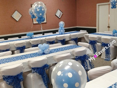 How to make a Triple Tier Double Stuffed Balloon Centerpiece Blue and White Polka Dot Baby Shower
