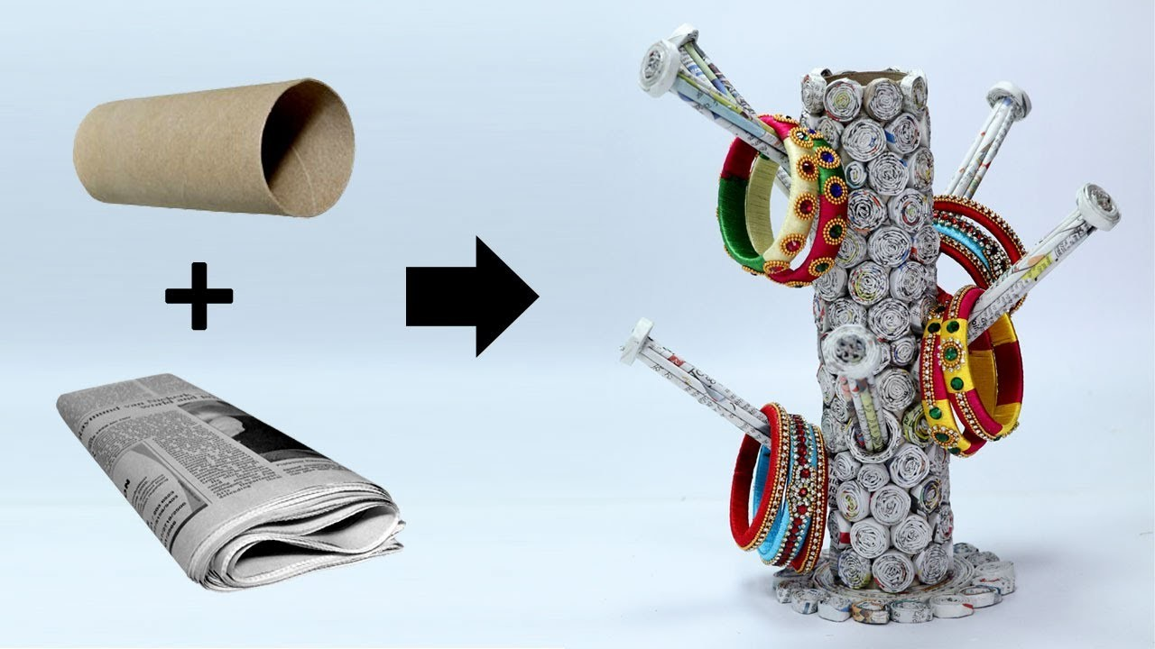 How to make bangle stand with newspaper best out of waste for Best out of waste ideas from bangles