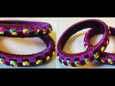 How to make designer silk thread bangle
