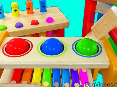 Learn Colors Pounding Toys Xylophone Finger Family Song Nursery Rhymes Body Paint EggVideos.com