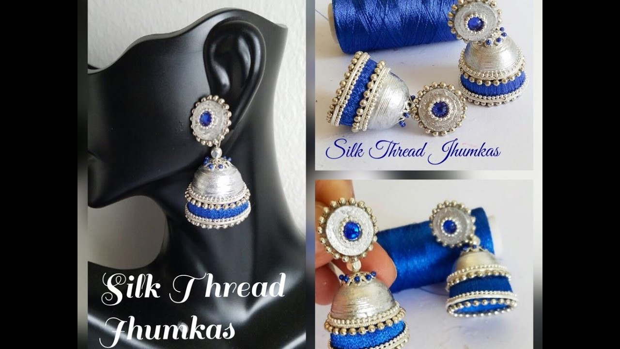 Making Silk Thread Jhumkas ||silver style||silk thread jhumka with quilling