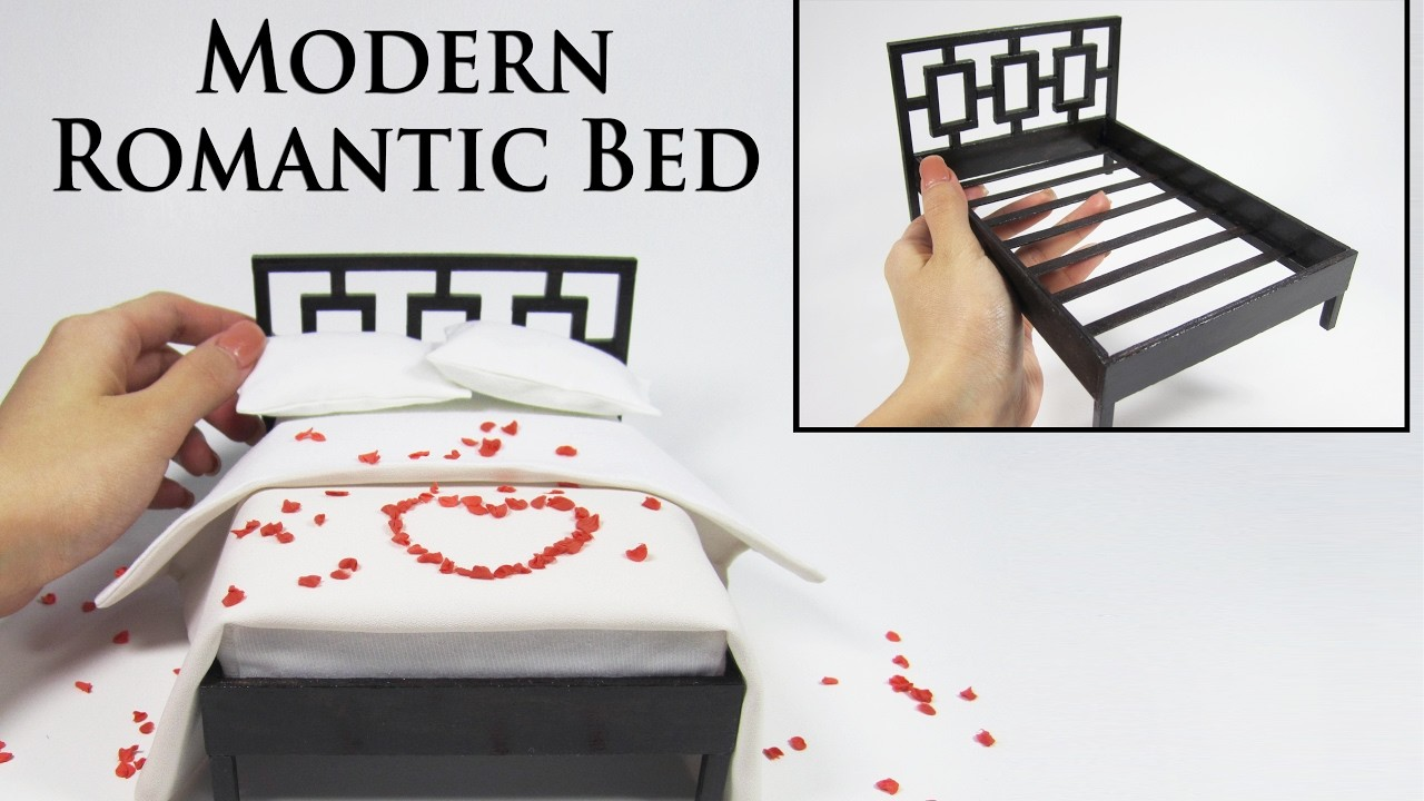 Mini Modern Bed Tutorial (with rose petals and bedding)