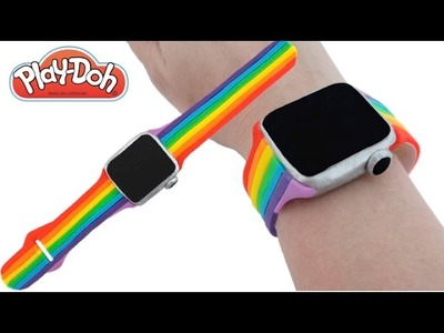 Play Doh How to Make a Play-Doh Smart Watch with a Rainbow Color Strap DIY RainbowLearning
