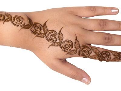 Rose Mehndi Design for Hands
