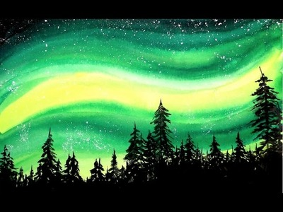 Simple Aurora Forest Watercolor Painting