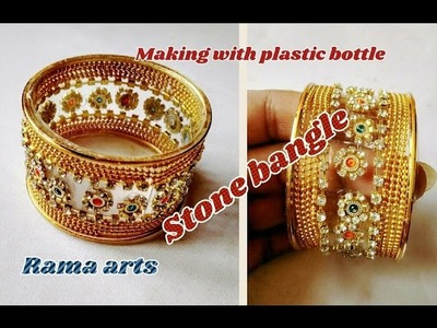 Stone bangle - Making with waste plastic bottle   jewellery tutorials