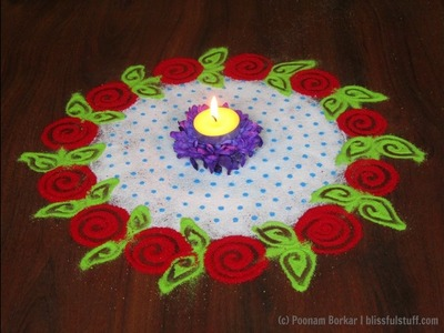 Super easy and quick rangoli using colander | Easy rangoli designs with colors by Poonam Borkar
