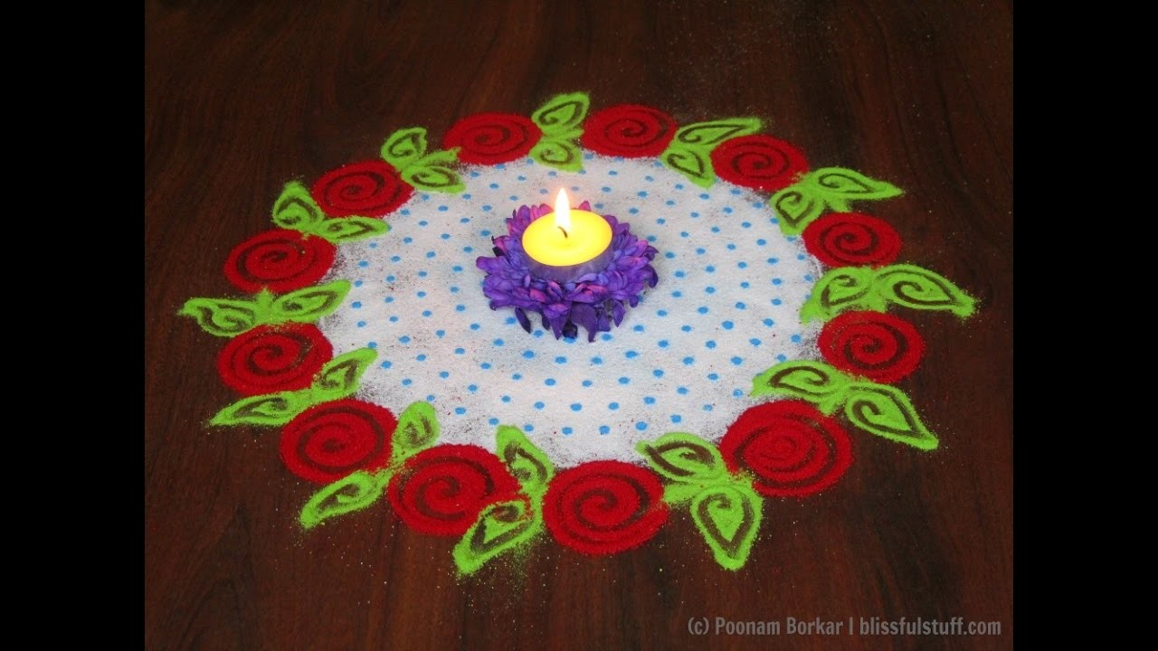 Super easy and quick rangoli using colander easy rangoli for Home made rangoli designs