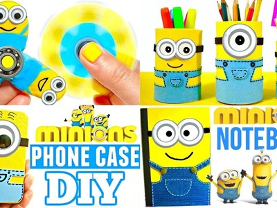 5 MINIONS CRAFTS TO DO WHEN YOU'RE BORED | DIY BACK TO SCHOOL SUPPLIES 2017