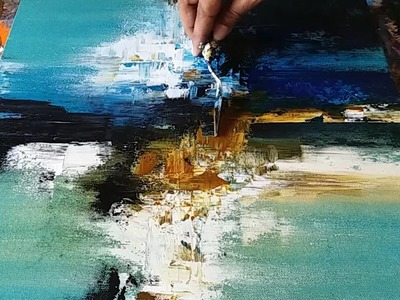 Abstract painting. Demonstration of Abstract painting in Acrylics. Palette knife