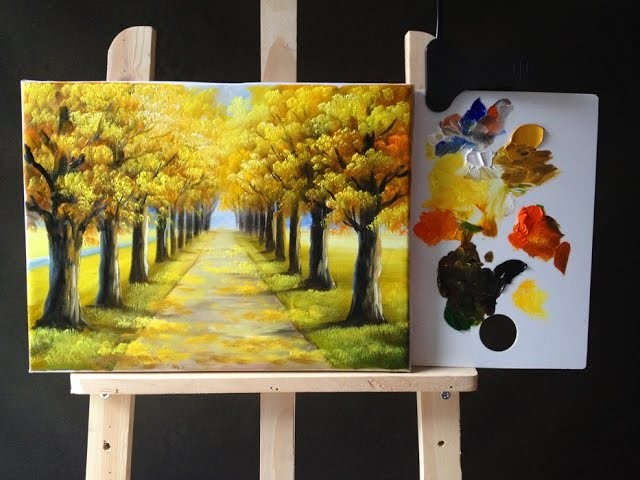 Autumn Tree Lined Road In Acrylics Tutorial Part 1 My