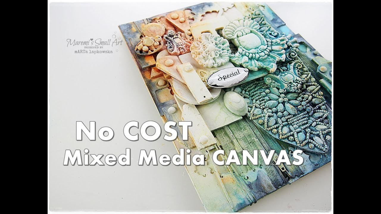 BUDGET Mixed Media JUNK Canvas Tutorial ♡ Maremi's Small Art ♡