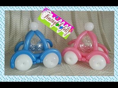 Carro o carroza con globos paso a paso