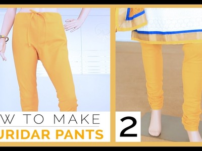 Class 29 - Part 2 Easy DIY Churidar. gathering Pants measurement, draft, cutting and sew