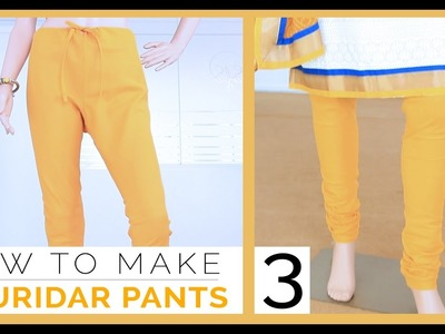 Class30 - Part 3 Easy DIY Churidar. gathering Pants measurement, draft, cutting and sewing