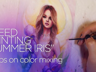 """COLOR MIXING WITH OILS    painting tutorial """"Summer Iris"""""""