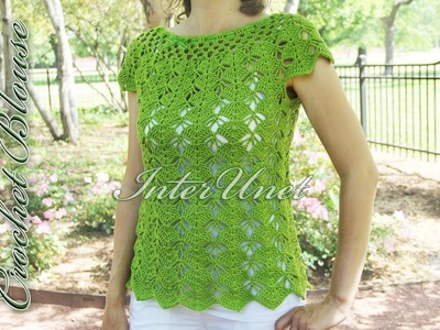 Crochet top-down blouse. Sleeveless summer top crochet pattern.
