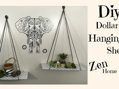 DOLLAR TREE DIY | HANGING SHELVES  $3 | ZEN HOME DECOR