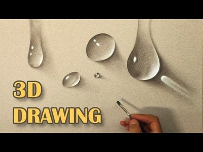 Drawing of water drops. Life Like DRAWING. How To Paint hyperrealistic 3D