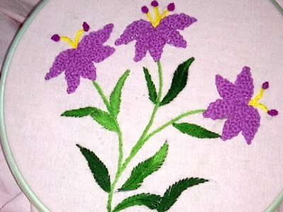 Hand embroidery beautiful flower with combination of stitches